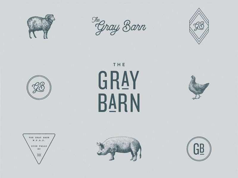 The Gray Barn Brand Assets brand identity logo farm animal engraving brand assets modern