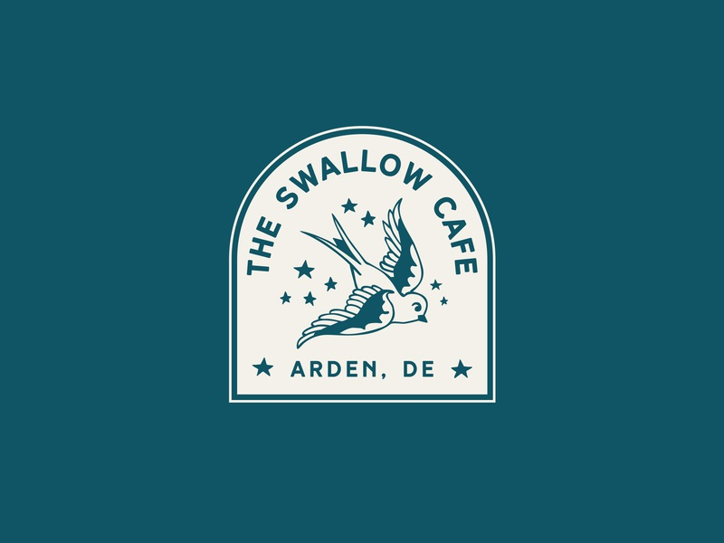 The Swallow Cafe logo teal brand and identity bird cafe logo cafe swallow tattoo