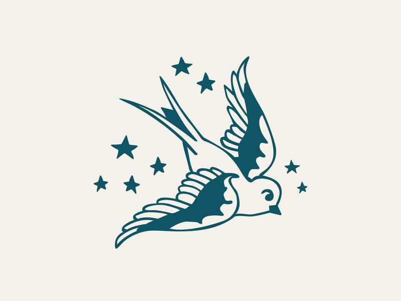 Swallow Cafe Logo illustration brand identity brand assets tattoo art bird stars logo tattoo