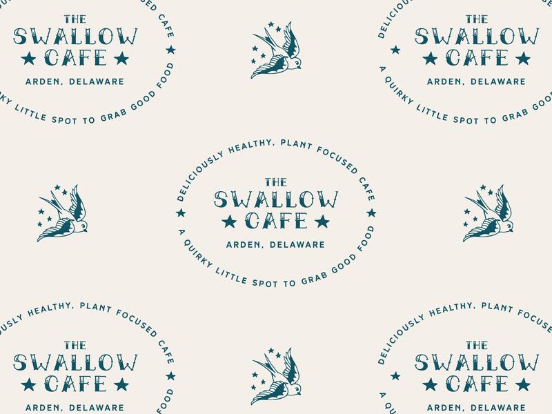 Swallow Cafe Badge & Logo vector blue illustration brand identity tattoo logo animal logo bird swallow tattoo retro badge logo