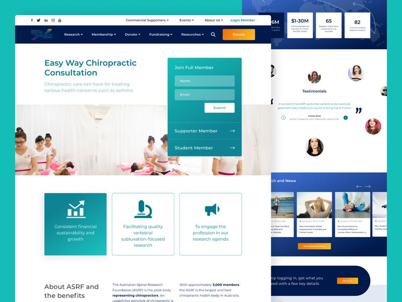 Chiropractic Consultation Website website design australia healthcare chiropractor chiropractic website ui homepage features details gradient clean
