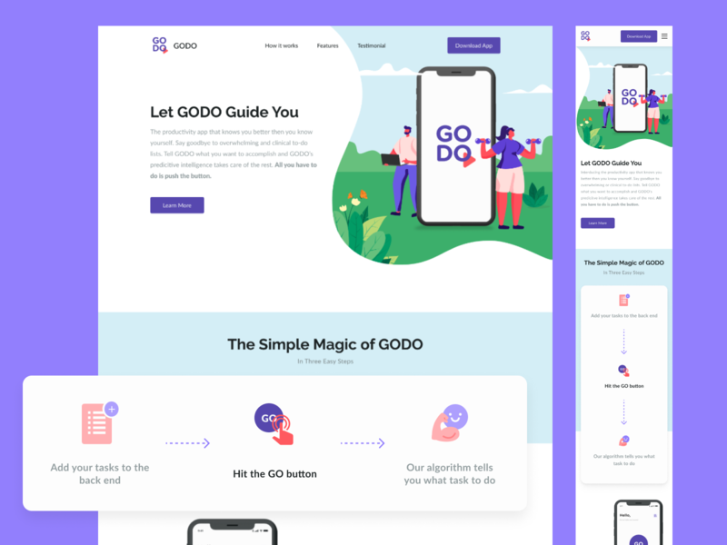 GODO Landing Page ui design web design responsive website testimonial how it works landing page godo todolist todo app task reminder relaxing responsive website features homepage illustration landingpage
