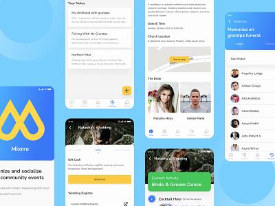 Mixrre App - Social Event Application activity gift donation memories wedding app social app app homepage gradient features