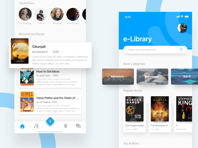 e-Library Mobile App | #exploration material listing illustrations icons homepage gradient explorations details book library android