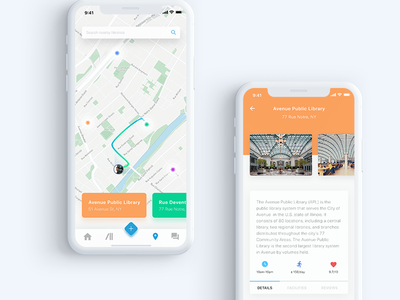 e-Library Maps | #exploration material listing maps ios illustrations icons homepage gradient explorations details book library