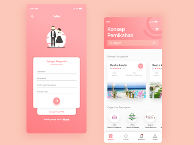 Wedding Services Marketplace iOS | #exploration pink signup marketplace wedding-app wedding exploration app nikahin clean gradient