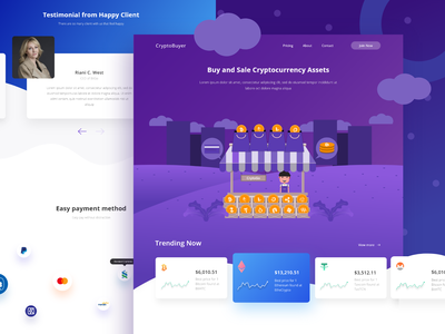 CryptoBuyer Landingpage crypto exchange crypto currency crypto trading crypto wallet purple crypto branding design ui features details illustration website gradient homepage clean landingpage