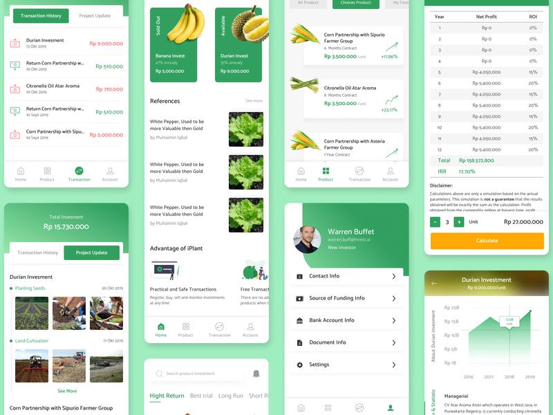 #Exploration — iPlant: Agri Investment Product trees plants iplant agricultural mobile ui mobile app app simulation statistics transaction agrotechnology investment agriculture features details exploration clean