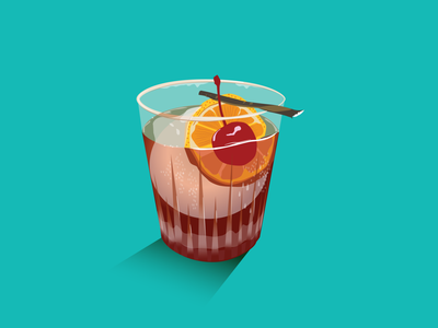 Old fashion inspired by Auvers Cafe in Sydney cherry foodie drinks cocktail illustration design