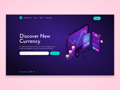 Cryptocurrency Landing Page - AdobeXD Challenge aqua pink purple challenge adobexd branding cryptocurrency concept web design website design