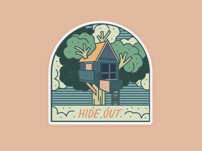 Hide Out badgedesign patch graphics treehouse tree badge sticker graphic design illustration