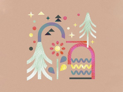 Playing with textures triangles flowers trees geometric geometry paper mountain squamish vancouver illustrator graphic design illustration