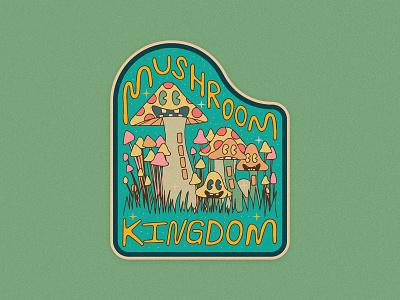 Mushroom Kingdom handletter hand drawn trip shrooms plants lettering character vancouver patch sticker mushroom illustrator illustration