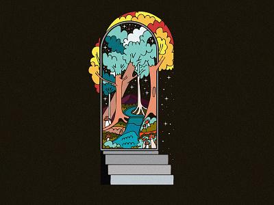 Walking Through That Door design stars nature shrooms mushrooms trees mountain badge sticker graphic design illustration