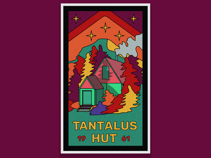 Tantalus Hut vintage badge vintage cabin mountain color palette vancouver squamish collage sticker illustrator