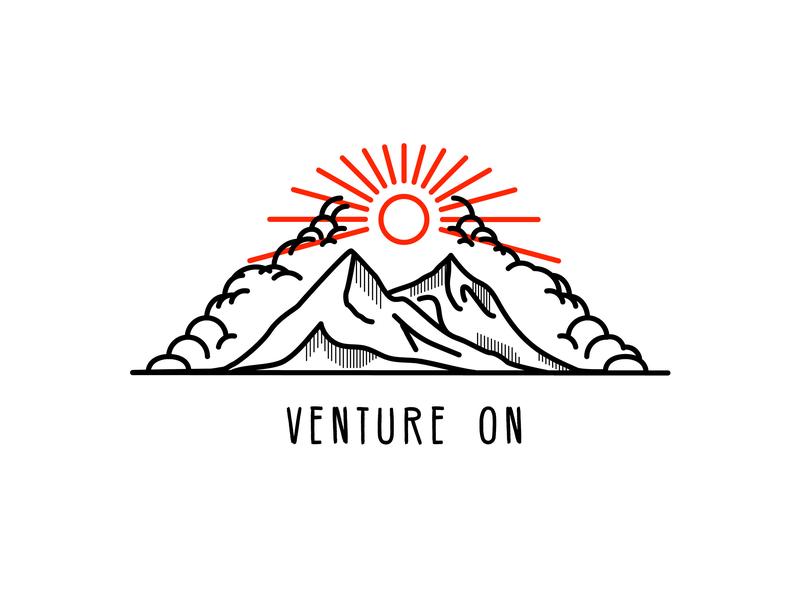 Venture On mountain lines mountain typography graphic design vancouver squamish sticker illustrator