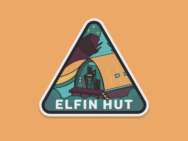Elfin Hut badge cabin camp hut illustration squamish graphic design