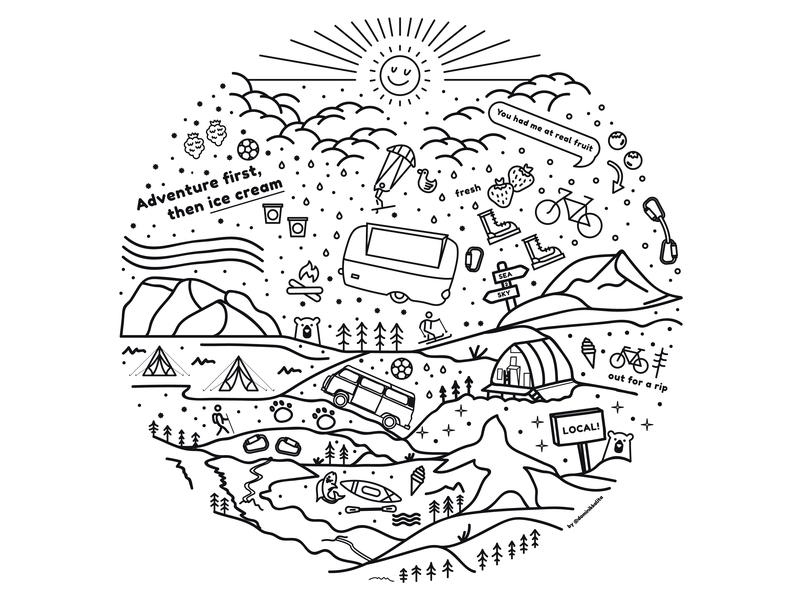 An ode to Squamish cabin design branding vector logo collage mountain vancouver sticker squamish illustrator graphic design illustration