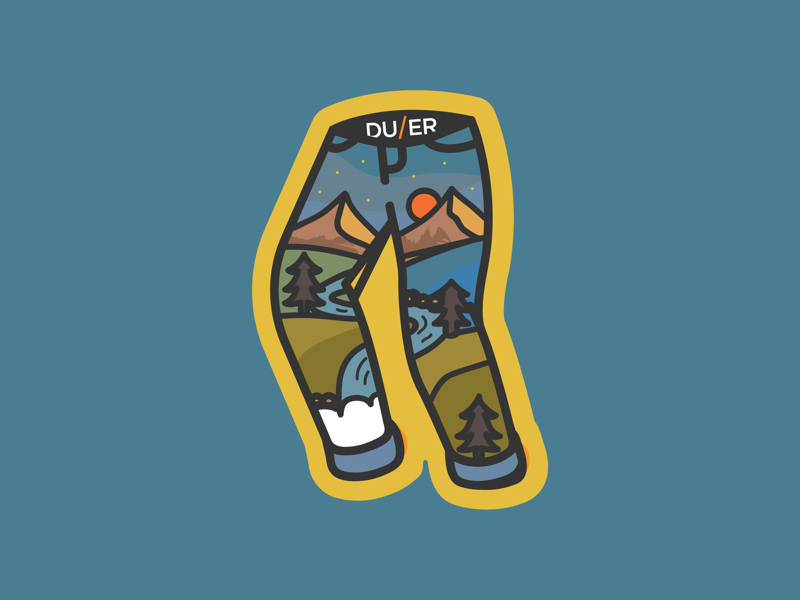 Stickers for DUER icon sunrise mountains nature colour badge pants sticker