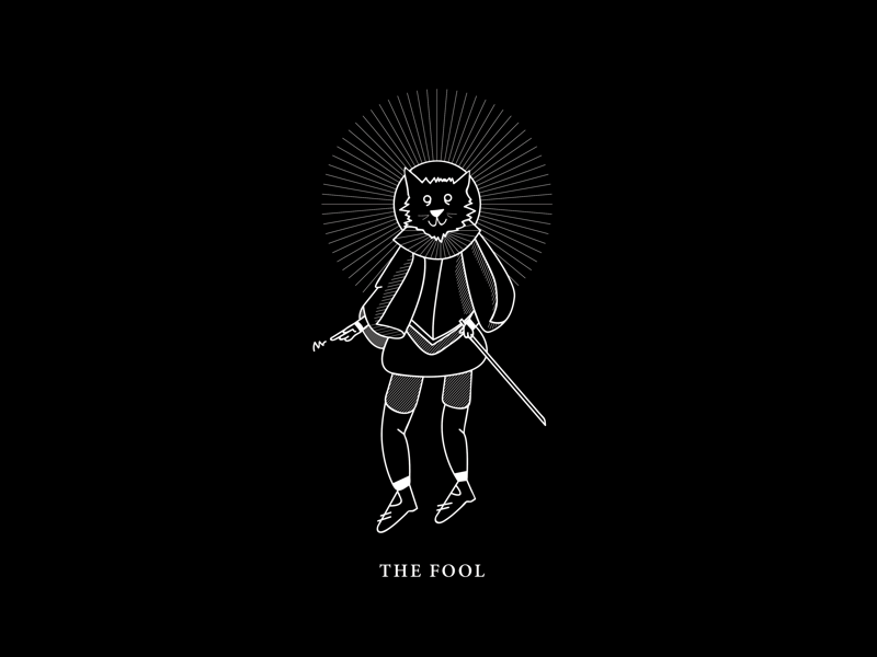 The Fool the fool icon simple linework lines cat black and white graphic illustration tarot