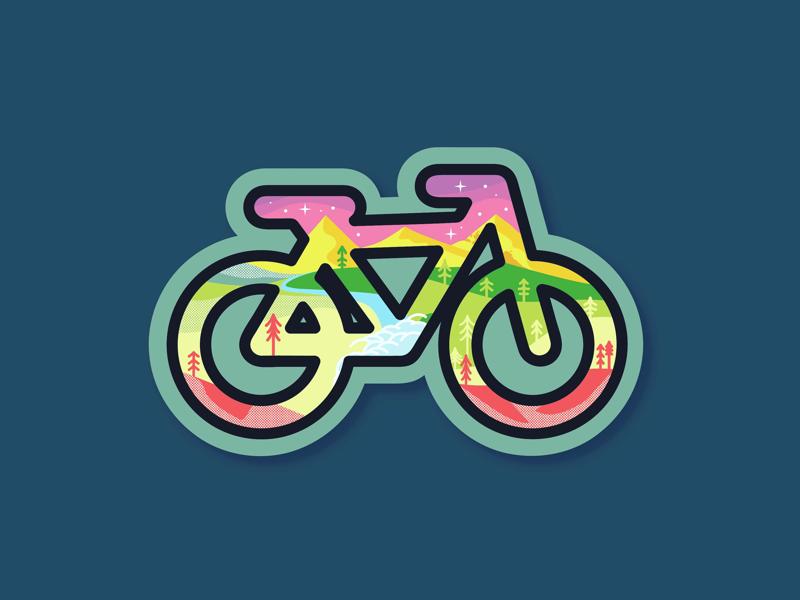 Mountain bike iconography icon tree graphic design pastel neon icons mountain bike illustration graphic