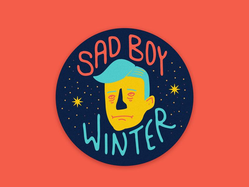 #sadboywinter badge sticker graphic sadboywinter character face lettering type illustration