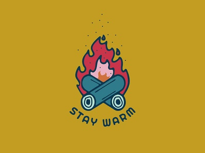 Stay Warm colours nature camp vibes camp fire badge sticker illustrator vancouver graphic design illustration