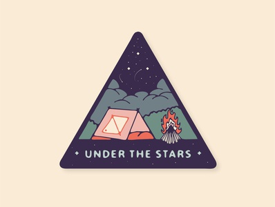 Under the Stars tent fire camp vibes lettering collage design mountain squamish badge sticker illustrator vancouver graphic design illustration