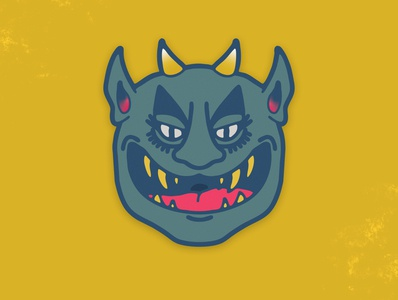 I bite demon mask graphic design character badge sticker illustrator vancouver graphic design illustration