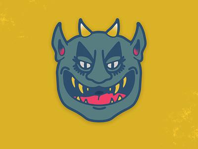 I bite demon mask graphic design character badge sticker illustrator vancouver graphic design illustration