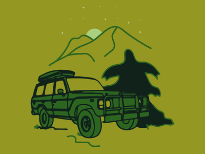 Adventure vibes mountains cars green nature trees outdoors land cruiser illustration illustrator