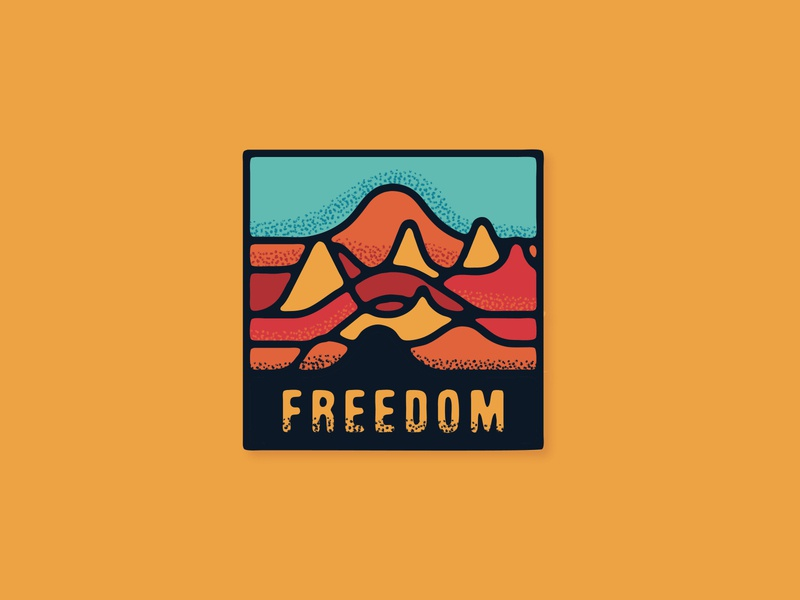 Freedom illustration art textures texture graphic design mountain squamish badge sticker illustrator graphic design illustration