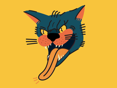 Pussy Cat tongue teeth bite colours badge patch tattoo inspired meow kitty illustration cat
