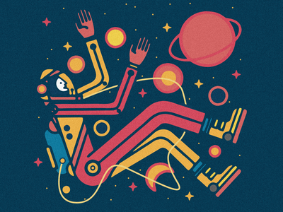 Sometimes I feel a little lost astronaut shapes lines geo stars foot character space people design illustrator