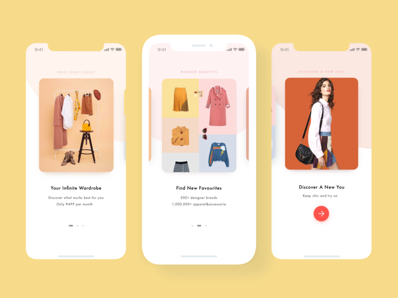 Ecommerce App onboarding screen - guide page interface app branding apparel card outfit wardrobe closet onboarding mobile guide page onboarding screen design ecommerce ui