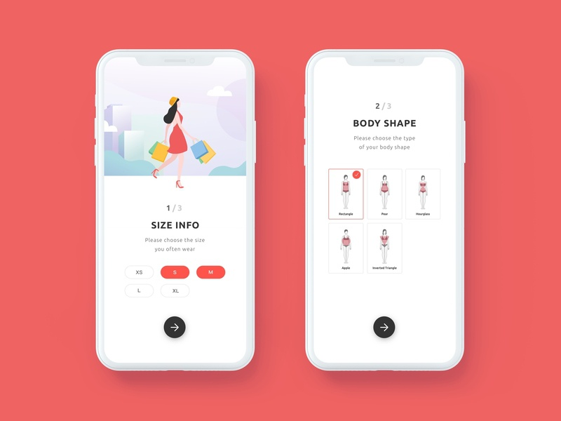 Onboarding - Personalised Fit measurement body shape fit fashion ecommerce size info illustration app onboarding ui