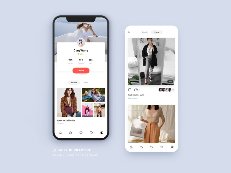 User Profile Page Of Fashion App collection mobile interface outfit follow social user profile board post app fashion ecommerce design ui