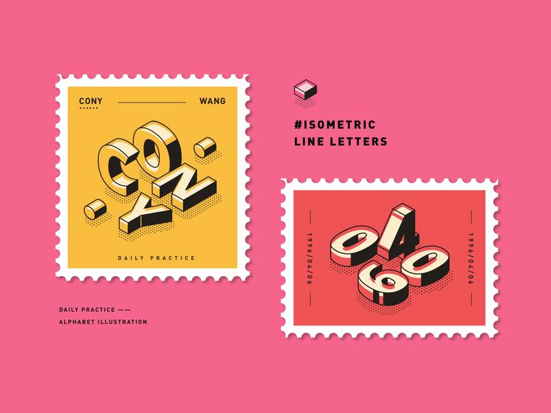 Isometric line letters letter alphabet isometric font vector typography graphic illustration design