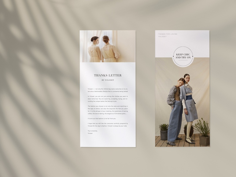 Thanks card to users cover layout fashion print card design