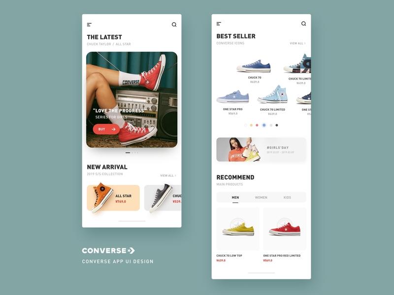 Converse App UI Design simple trendy sport fashion shoes converse online shopping interface ux mobile branding ecommerce app ui design