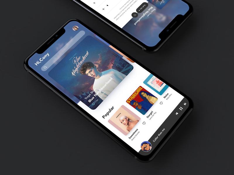 Music App Homepage UI Design homepage mobile interface music album ux card app ui design