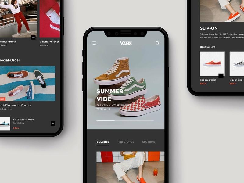 E-commerce App UI Practice interface homepage sneaker trendy shopping vans shoes fashion mobile ecommerce branding app ui