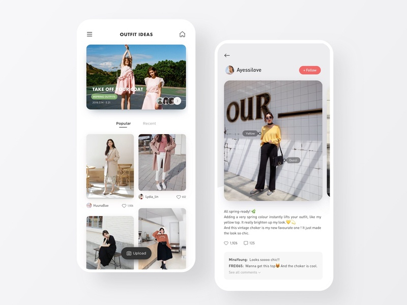 Whowhatwear - outfit inspiration outfit spring social branding mobile interface fashion ecommerce app ui design