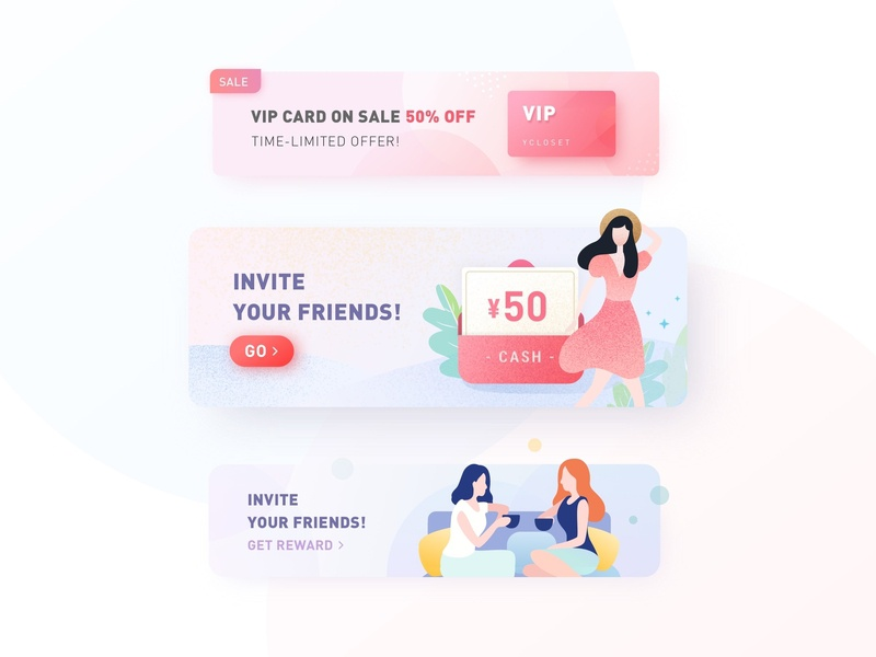 Banners banner invite friends vip spring soft colors girl female flat mobile interface graphic vector illustration app ui design