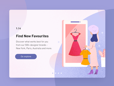 Online shopping banner design dress clothes interface guide page woman shopping online apparel vector illustration graphic branding ecommerce fashion app ui design