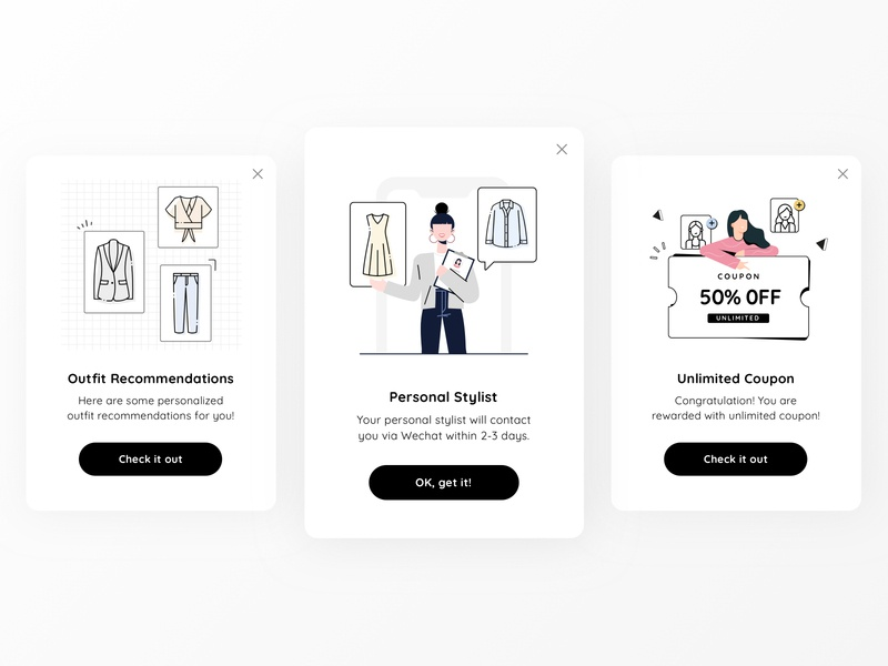 Some recent popup graphics clothes shopping outfit graphic illustration ecommerce interface app ui design