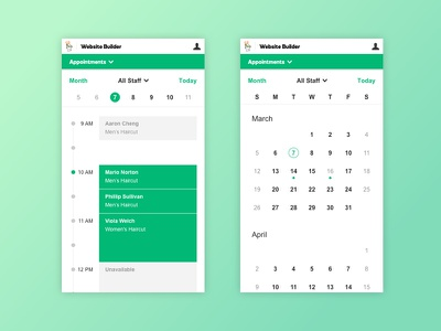Online Appointment App day month timeline calendar schedule appointment