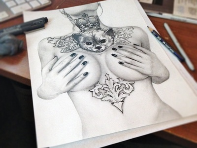 tits and tats boobs girl tattoo inked fox design drawing pencil pen graphite hands nails alternative illustration fake crown royal wip