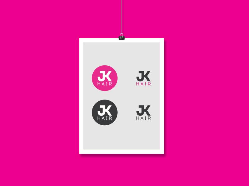 JK Hair logotype pink trendy logotype logo