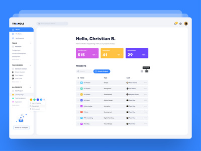 ▲TRIANGLE | Task Management Dashboard logo design branding colores uiux ux saas task management ui
